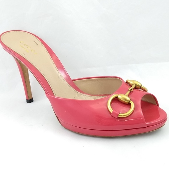 1551d19ec Gucci Shoes | 37 Heels Patent Pink Slides Gold Horsebit Pe | Poshmark